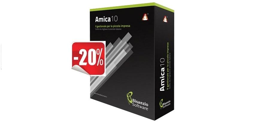 """Il gestionale della piccola impresa – sconto 20% su tutti i prodotti """"AMICA"""" disponibili in negozio"""
